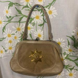 Vintage 1950s tan leather brass sunburst handbag